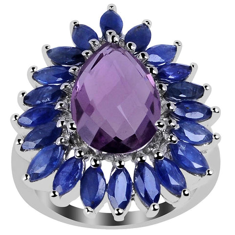 Orchid Jewelry 7.40 Carat Genuine Amethyst and Sapphire 925 Sterling Silver Cluster Ring