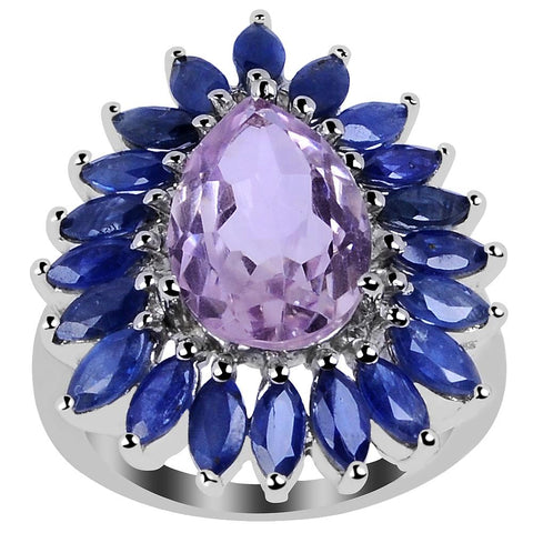 Orchid Jewelry 7.80 Carat Genuine Pink Amethyst and Sapphire 925 Sterling Silver Cluster Ring