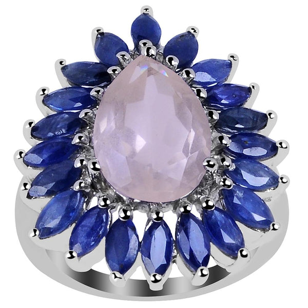 Orchid Jewelry 8.00 Carat Genuine Rose Quartz & Sapphire 925 Sterling Silver Cluster Ring