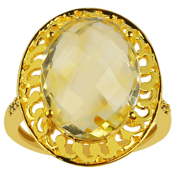 Orchid Jewelry 7.50 Carat Genuine Citrine & Spinel 925 Sterling Silver Gold Plated Ring