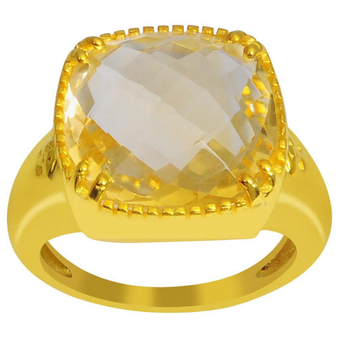 Orchid Jewelry 9.25 Carat Genuine Citrine 925 Sterling Silver Gold Plated Ring