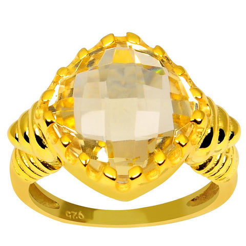 Orchid Jewelry 925 Sterling Silver Gold Plated 5.70 Carat Genuine Citrine Gemstone Bridal Ring