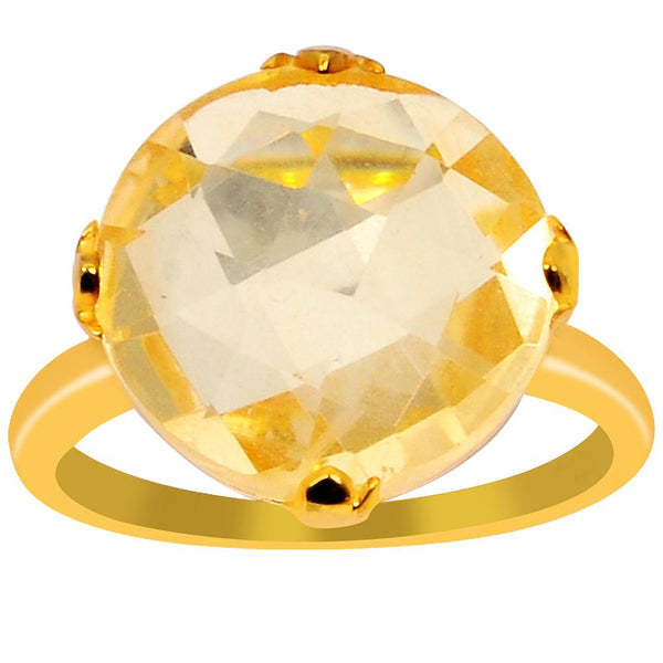 Orchid Jewelry 8.05 Carat Genuine Citrine 925 Sterling Silver 14k Gold Plated Ring
