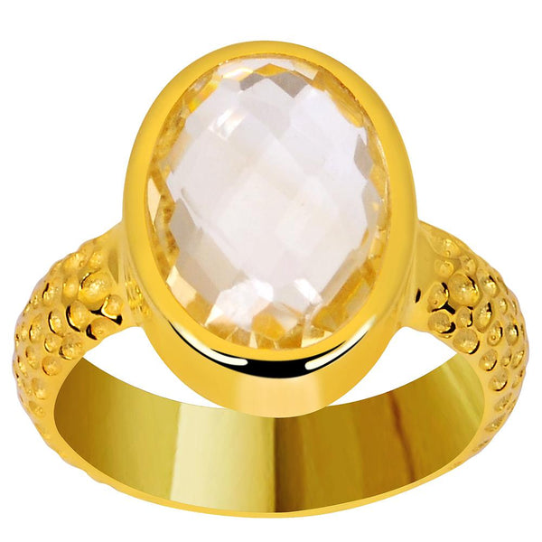 Orchid Jewelry 4.70 Carat Genuine Citrine 925 Sterling Silver Gold Plated Hammered Ring
