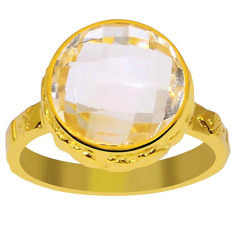 Orchid Jewelry 5.20 Carat Genuine Citrine 925 Sterling Silver Gold Plated Textured Ring