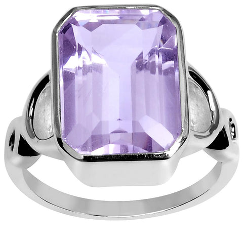 Orchid Jewelry 7.20 Carat Weight Genuine Pink Amethyst 925 Sterling Silver Ring