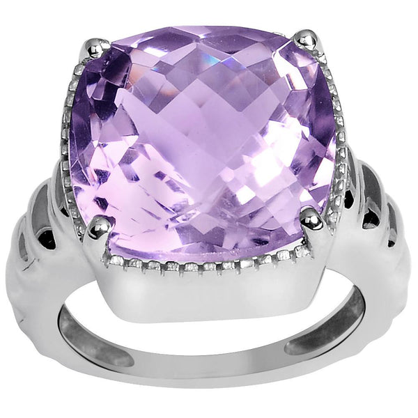 Orchid Jewelry 10.40 Carat Pink Amethyst Ring In Sterling Silver