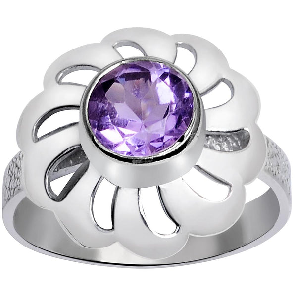 Orchid Jewelry 1.50 Carat Weight Genuine Amethyst 925 Sterling Silver Ring