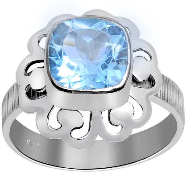 Orchid Jewelry 2.45 Carat Weight Genuine Blue Topaz 925 Sterling Silver Art Deco Ring