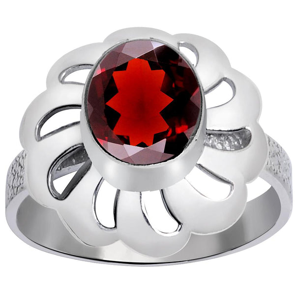 Orchid Jewelry 1.80 Carat Weight Genuine Garnet 925 Sterling Silver Ring
