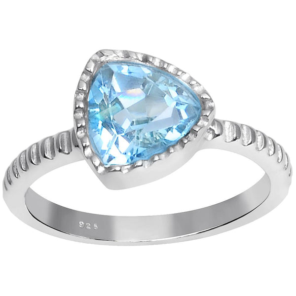 Orchid Jewelry 2.20 Carat Weight Genuine Blue Topaz 925 Sterling Silver Ring