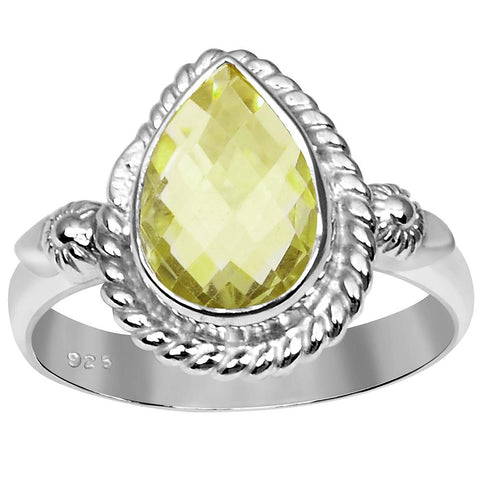Orchid Jewelry 3.15 Carat Weight Genuine Lemon Quartz 925 Sterling Silver Ring
