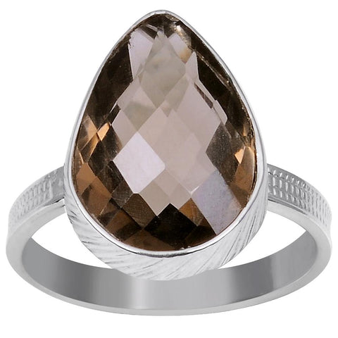 Orchid Jewelry 5.05 Carat Weight Genuine Smoky Quartz 925 Sterling Silver Ring