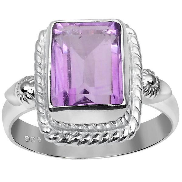 Orchid Jewelry 2.12 Carat Weight Genuine Amethyst 925 Sterling Silver Ring