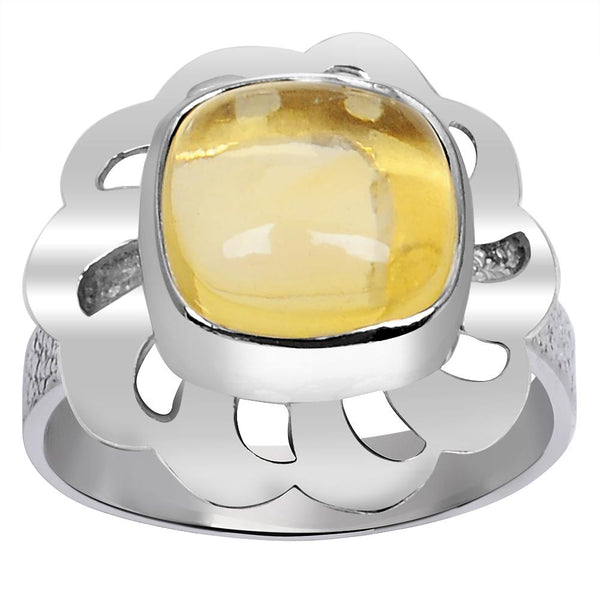 Orchid Jewelry 3.55 Carat Weight Genuine Citrine 925 Sterling Silver Ring