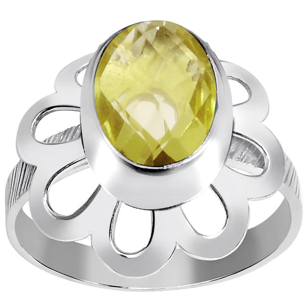Orchid Jewelry 2.20 Carat Weight Genuine Lemon Quartz 925 Sterling Silver Ring