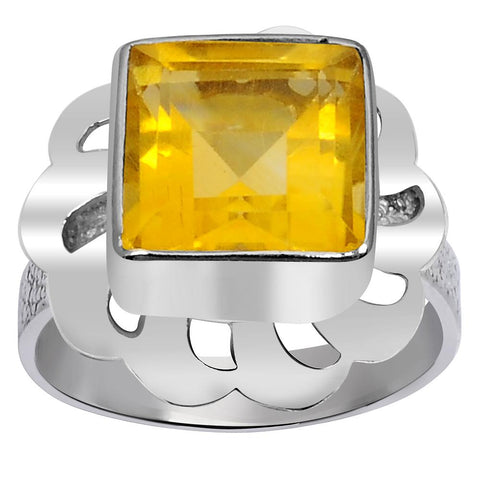Orchid Jewelry 2.25 Carat Weight Genuine Citrine 925 Sterling Silver Ring
