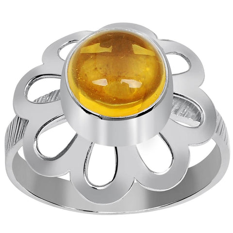 Orchid Jewelry 1.90 Carat Weight Genuine Citrine 925 Sterling Silver Ring