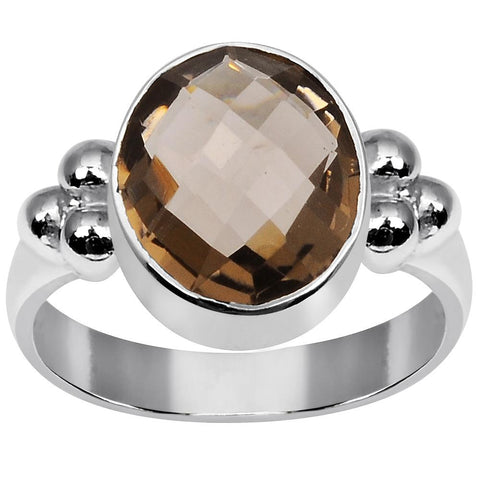 Orchid Jewelry 3.75 Carat Weight Genuine  Smoky Quartz 925 Sterling Silver Ring