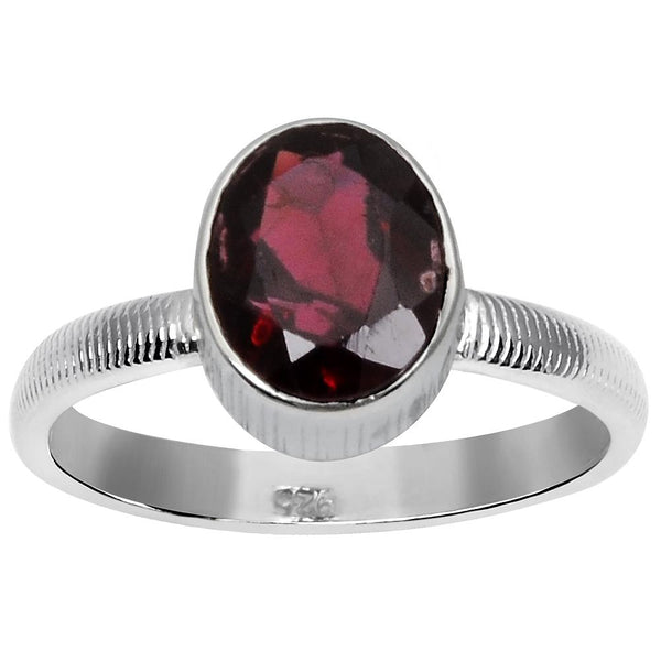 Orchid Jewelry 1.85 Carat Weight Genuine Garnet 925 Sterling Silver Ring