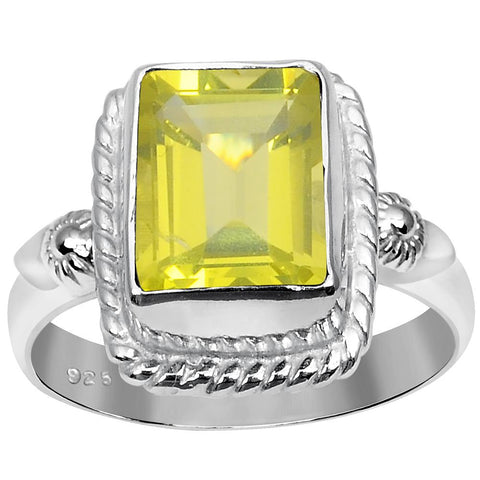 Orchid Jewelry 2.05 Carat Weight Genuine Lemon Quartz 925 Sterling Silver Ring