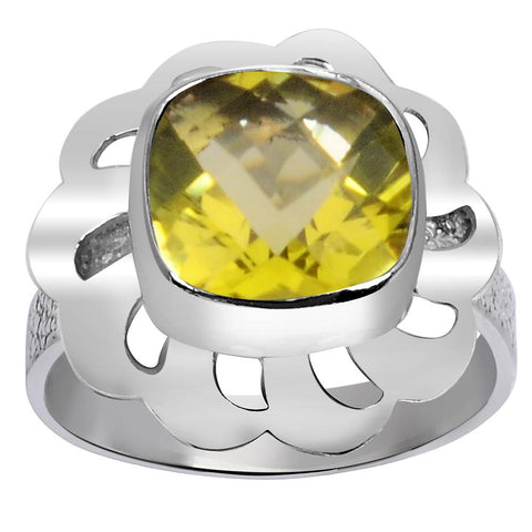 Orchid Jewelry 1.80 Carat Weight Genuine Lemon Quartz 925 Sterling Silver Ring