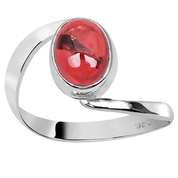 Orchid Jewelry 925 Sterling Silver 2 Carat Garnet Twisted Ring