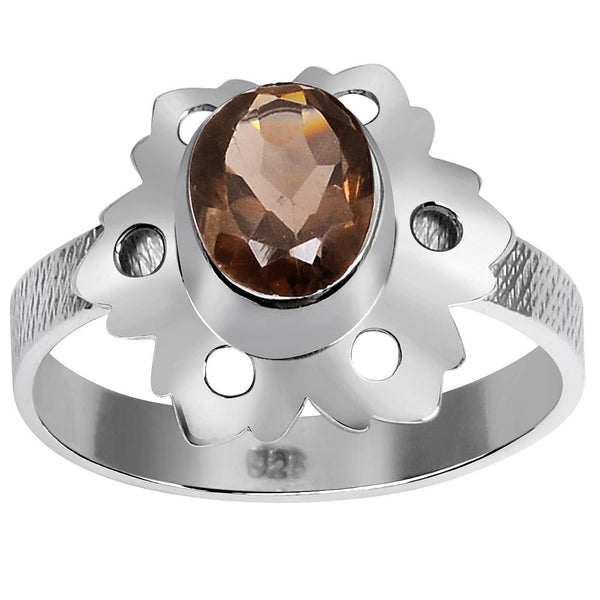 Orchid Jewelry 1.05 Carat Weight Genuine Smoky Quartz 925 Sterling Silver Ring
