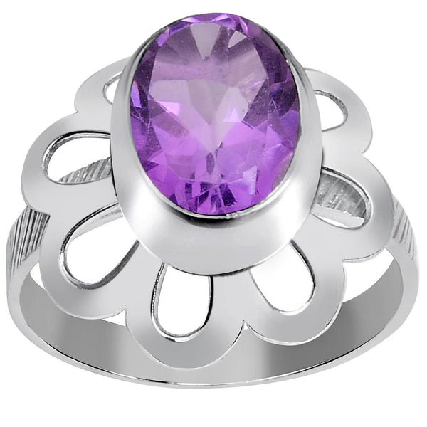 Orchid Jewelry 2.60 Carat Weight Genuine Amethyst 925 Sterling Silver Ring