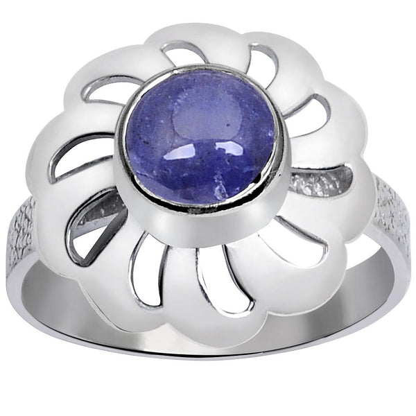 Orchid Jewelry 1.10 Carat Weight Genuine Tanzanite 925 Sterling Silver Ring