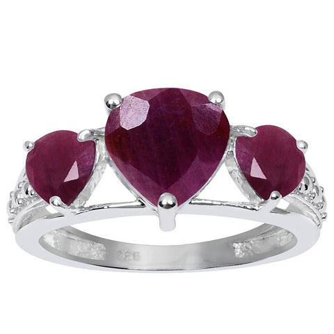 Orchid Jewelry 925 Sterling Silver Ring 3.35 Carat Genuine  Ruby