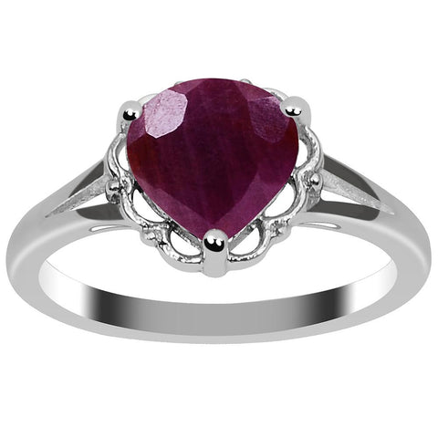 Orchid Jewelry 2.65 Carat Weight Genuine Ruby 925 Sterling Silver Ring