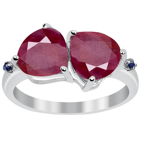 Orchid Jewelry Sterling Silver 4 2/3ct. TGW Ruby and Sapphire Birthstone Ring