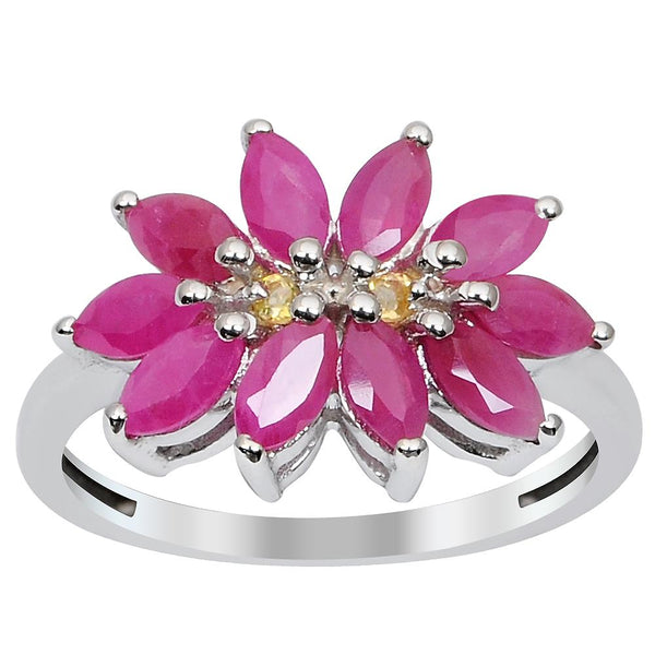 Orchid Jewelry 1.80 Carat Weight Genuine Ruby and Citrine 925 Sterling Silver Ring