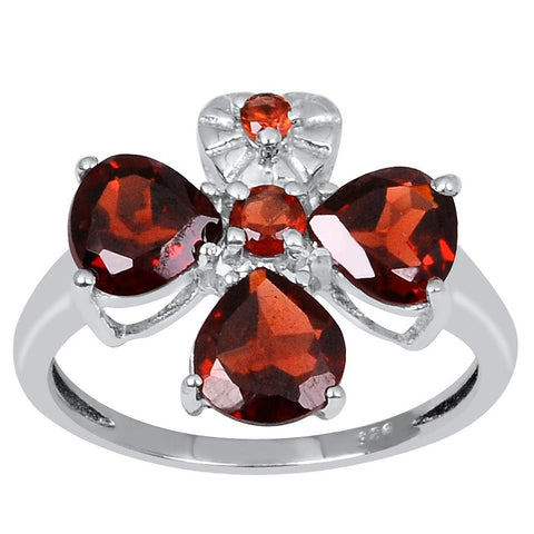 Orchid Jewelry 2.75 Carat Genuine Garnet 925 Sterling Silver Ring