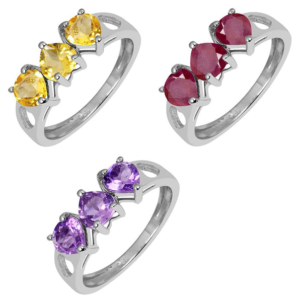 Orchid Jewelry Three Color of Gemstone Amethyst, Citrine & Ruby Heart 3-stone Engagement Rings For Your Choice