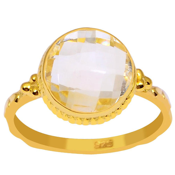 Orchid Jewelry 3.20 Carat Genuine Citrine 925 Sterling Silver Ring with 14K Gold Plated