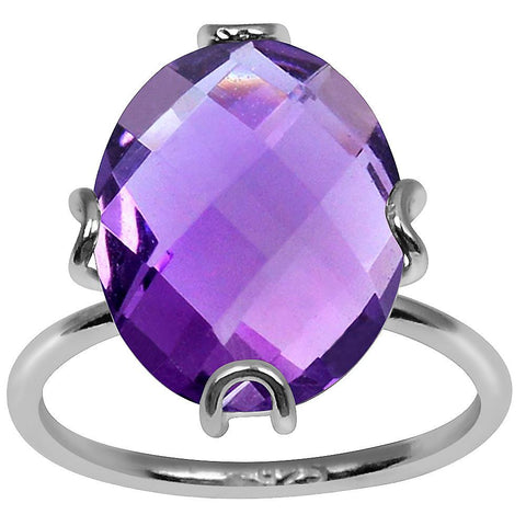 Orchid Jewelry 7.60 Carat Amethyst 925 Sterling Silver Candy Ring