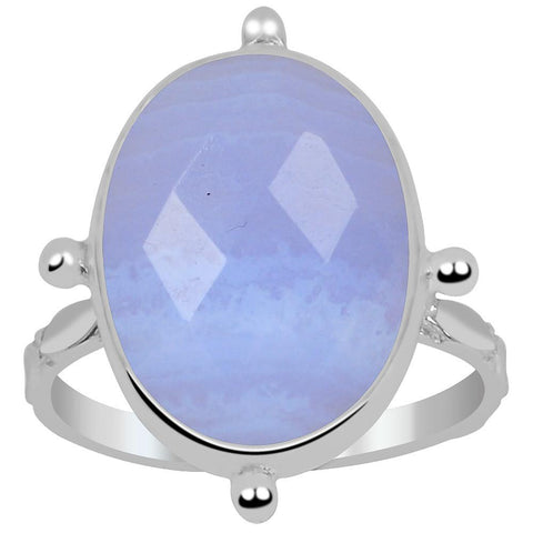 Orchid Jewelry 8.50 Carat Genuine Blue Lace Agate 925 Sterling Silver Ring