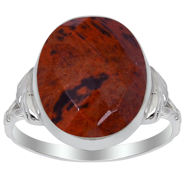 Orchid Jewelry 6.45 Carat Genuine Mahogany Jasper Sterling Silver Ring
