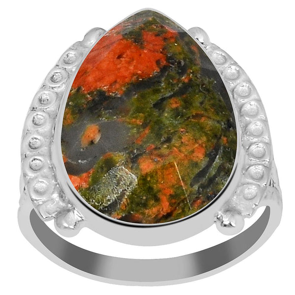 Orchid Jewelry's 9.50 Carat Genuine Unakite Jasper 925 Sterling Silver Ring