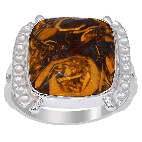 Orchid Jewelry's 9.10 Carat Genuine Marium Jasper 925 Sterling Silver Ring
