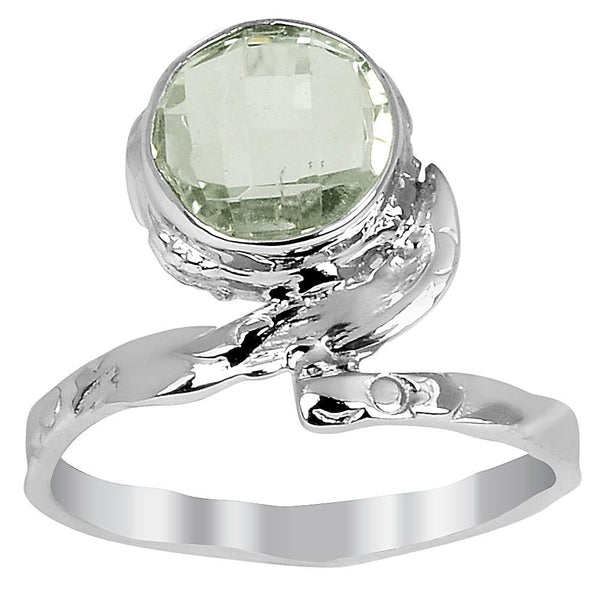Orchid Jewelry Sterling Silver 1.35 Carat Green Amethyst Ring