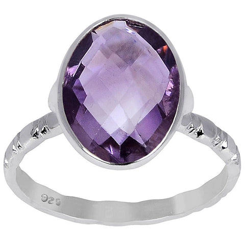 Orchid Jewelry's 3.70 Carat Amethyst 925 Sterling Silver Oval Shape Ring