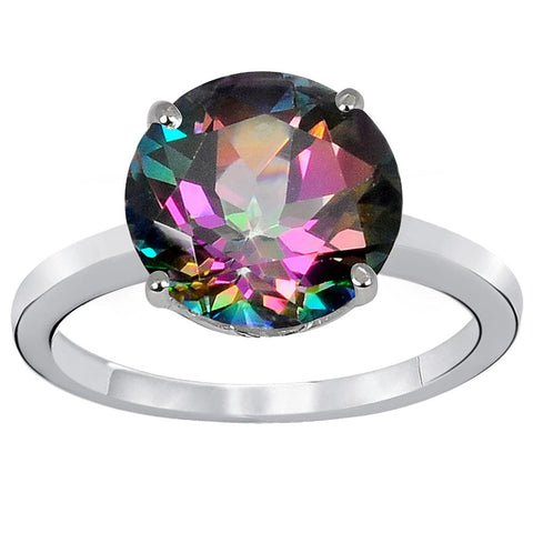 Orchid Jewelry 925 Sterling Silver 4.84 Carat Mystic Quartz Ring.