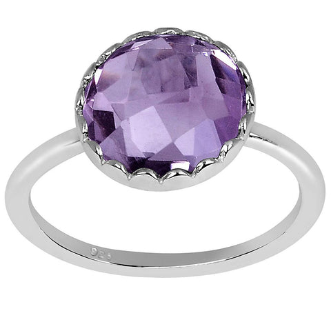 Orchid Jewelry 3.20 Amethyst 925 Sterling Silver Round Shape Ring