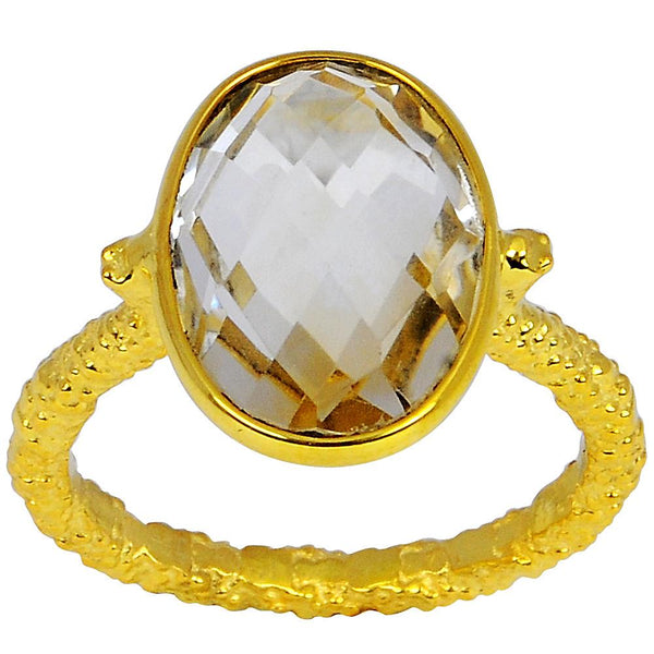 Orchid Jewelry 10K Yellow Gold Plated 5.00 Carat Citrine Ring