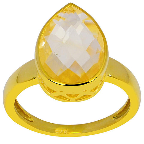 Orchid Jewelry 18K Yellow Gold Plated Silver 4.50 Carat Citrine Ring