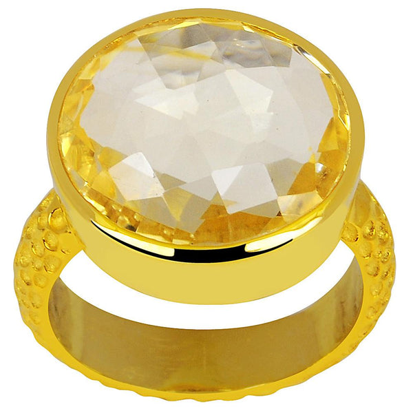 Orchid Jewelry 18K Yellow Gold Plated Silver 14.00 Carat Citrine Ring