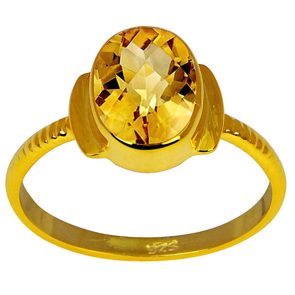 Orchid Jewelry 1.70 Carat Citrine 18K Yellow Gold Plated 925 Sterling Silver Ring